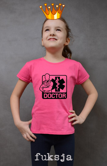 koszulka dziewczęca DOCTOR kolor fuksja