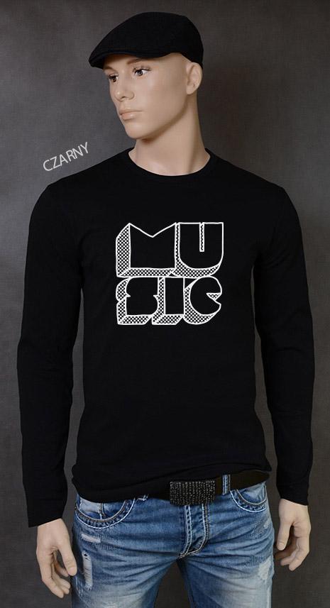 longsleeve męski MUSIC kolor czarny