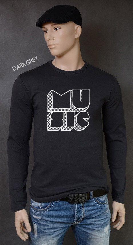 longsleeve męski MUSIC kolor dark grey