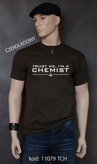 koszulka męska TRUST ME I'M A CHEMIST kolor czekoladowy