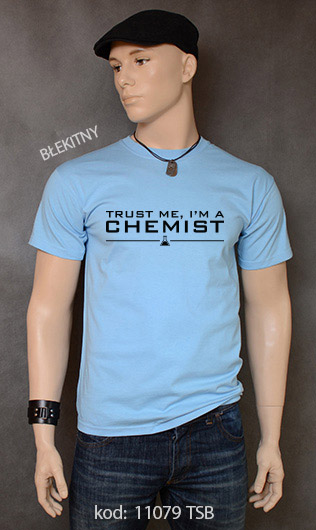 koszulka męska TRUST ME I'M A CHEMIST kolor błękitny