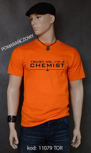 koszulka męska TRUST ME I'M A CHEMIST kolor pomarańczowy