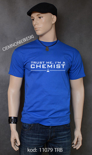 koszulka męska TRUST ME I'M A CHEMIST kolor ciemnoniebieski