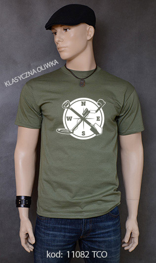 koszulka męska WYKOPKI kolor klasyczna oliwka