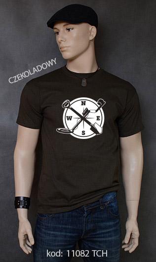 koszulka męska WYKOPKI kolor czekoladowy