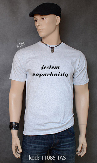 koszulka męska JESTEM ZAPACHNISTY kolor ash