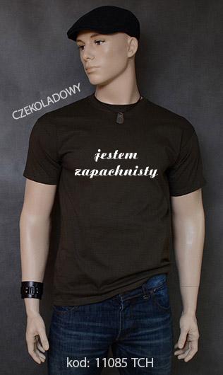 koszulka męska JESTEM ZAPACHNISTY kolor czekoladowy