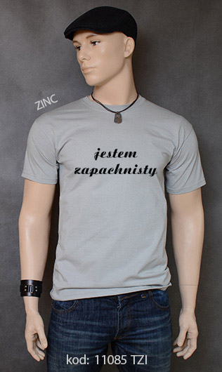 koszulka męska JESTEM ZAPACHNISTY kolor zinc