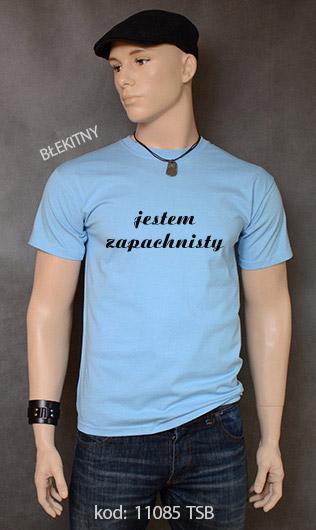 koszulka męska JESTEM ZAPACHNISTY kolor błękitny