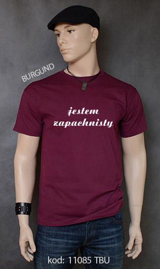 koszulka męska JESTEM ZAPACHNISTY kolor burgund
