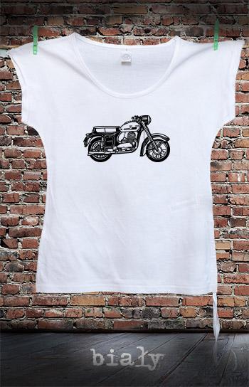 koszulka damska fashion MOTOCYKL kolor biały