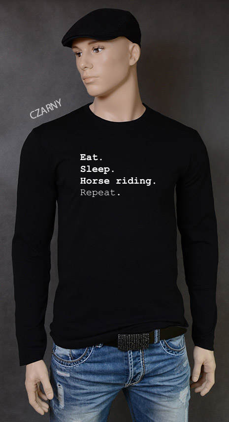 longsleeve męski EAT SLEEP HORSE RIDING REPEAT kolor czarny