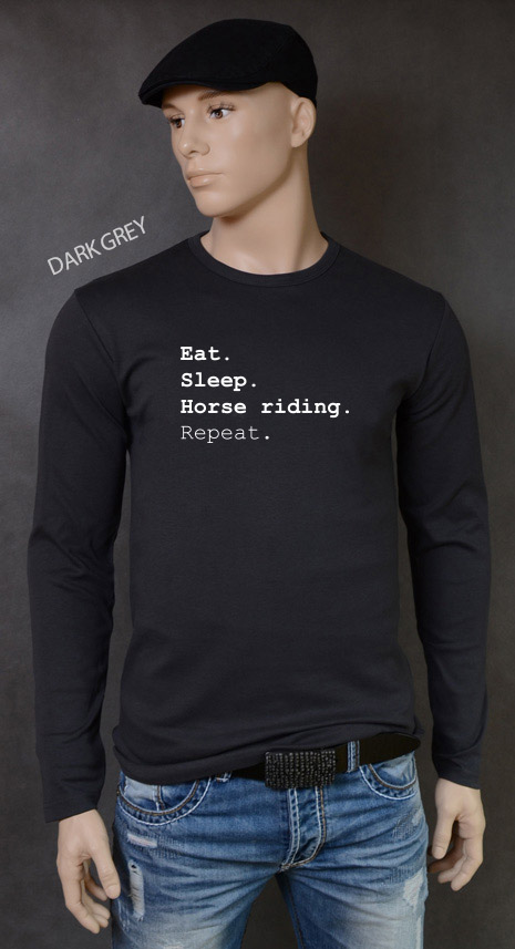 longsleeve męski EAT SLEEP HORSE RIDING REPEAT kolor dark grey