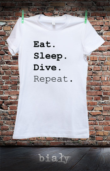 koszulka damska EAT SLEEP DIVE REPEAT kolor biały