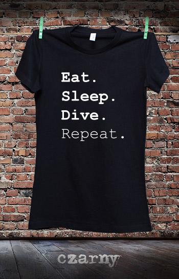 koszulka damska EAT SLEEP DIVE REPEAT kolor czarny