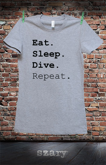 koszulka damska EAT SLEEP DIVE REPEAT kolor szary