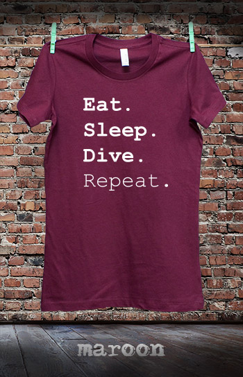 koszulka damska EAT SLEEP DIVE REPEAT kolor maroon