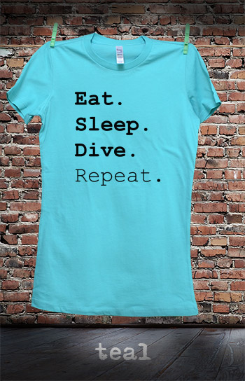 koszulka damska EAT SLEEP DIVE REPEAT kolor teal