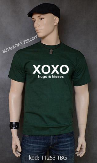 koszulka męska XOXO HUGS AND KISSES kolor butelkowy zielony