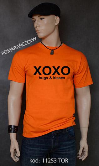 koszulka męska XOXO HUGS AND KISSES kolor pomarańczowy