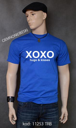 koszulka męska XOXO HUGS AND KISSES kolor ciemnoniebieski