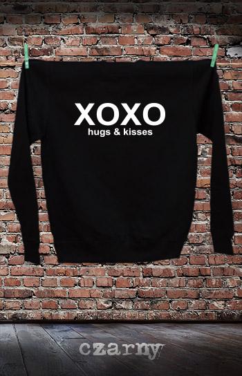 bluza dla niej i dla niego XOXO HUGS AND KISSES kolor czarny