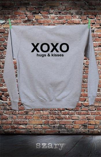 bluza dla niej i dla niego XOXO HUGS AND KISSES kolor szary