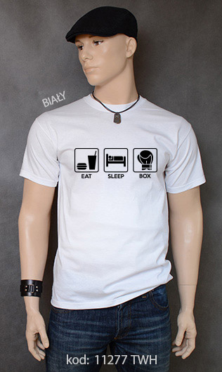 koszulka męska EAT SLEEP BOX kolor biały