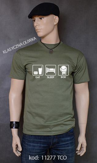 koszulka męska EAT SLEEP BOX kolor klasyczna oliwka