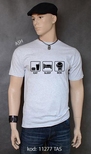 koszulka męska EAT SLEEP BOX kolor ash