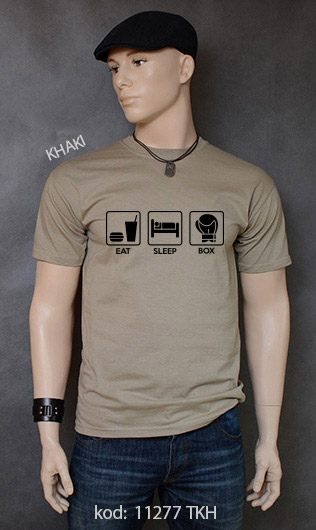 koszulka męska EAT SLEEP BOX kolor khaki