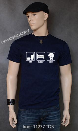 koszulka męska EAT SLEEP BOX kolor ciemnogranatowy