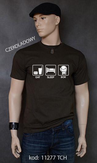 koszulka męska EAT SLEEP BOX kolor czekoladowy