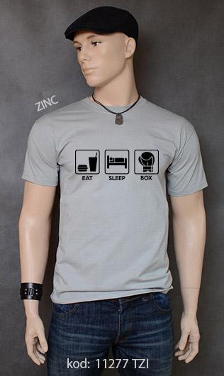 koszulka męska EAT SLEEP BOX kolor zinc