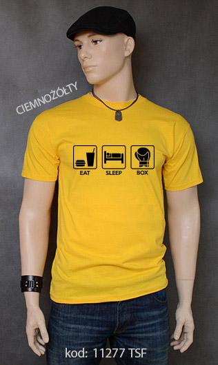 koszulka męska EAT SLEEP BOX kolor ciemnożółty