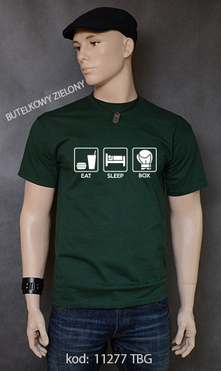 koszulka męska EAT SLEEP BOX kolor butelkowy zielony