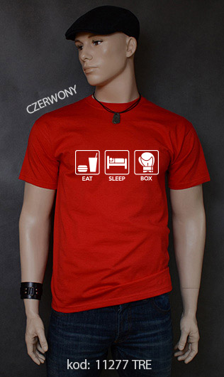 koszulka męska EAT SLEEP BOX kolor czerwony