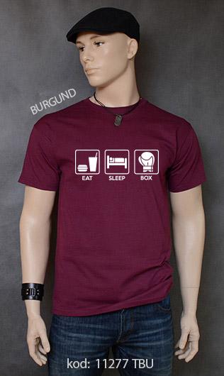 koszulka męska EAT SLEEP BOX kolor burgund