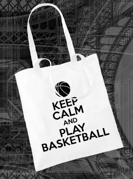 torba na zakupy KEEP CALM AND PLAY BASKETBALL kolor biały