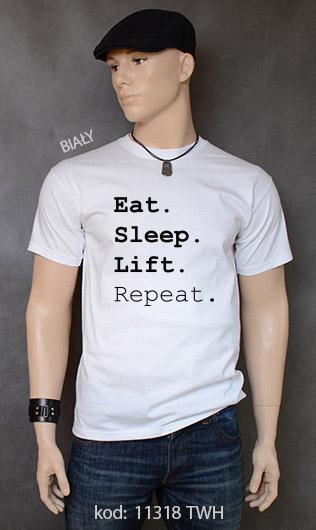 koszulka męska EAT SLEEP LIFT REPEAT kolor biały