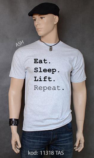 koszulka męska EAT SLEEP LIFT REPEAT kolor ash