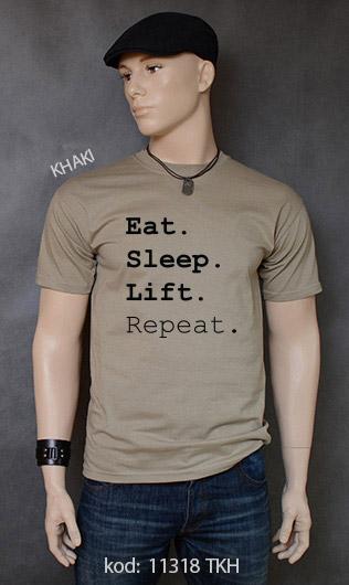 koszulka męska EAT SLEEP LIFT REPEAT kolor khaki