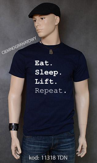 koszulka męska EAT SLEEP LIFT REPEAT kolor ciemnogranatowy