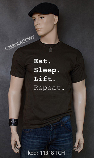 koszulka męska EAT SLEEP LIFT REPEAT kolor czekoladowy