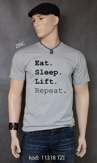 koszulka męska EAT SLEEP LIFT REPEAT kolor zinc