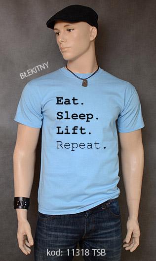 koszulka męska EAT SLEEP LIFT REPEAT kolor błękitny