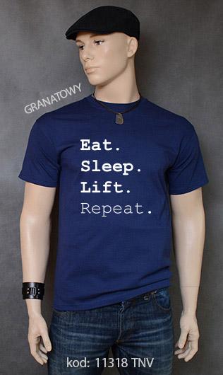 koszulka męska EAT SLEEP LIFT REPEAT kolor granatowy