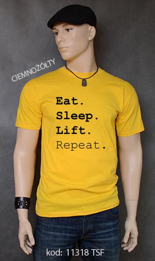 koszulka męska EAT SLEEP LIFT REPEAT kolor ciemnożółty
