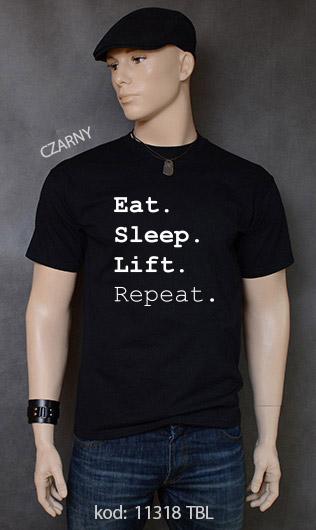 koszulka męska EAT SLEEP LIFT REPEAT kolor czarny