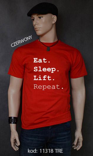 koszulka męska EAT SLEEP LIFT REPEAT kolor czerwony